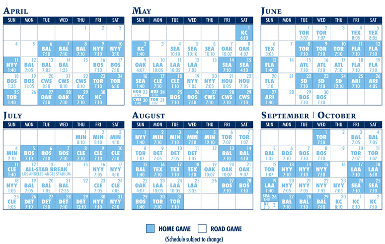 Tampa Bay Rays 2014 Schedule Printable Party Invitations